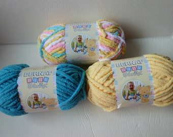 Yarn Sale  - Pitter Patter, Teal and Yellow Baby Blanket by Bernat