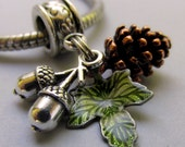 Autumn European Pendant With Copper Pine Cone, Silver Acorn And Green Leaf Charms For Large Hole Bracelet And Necklace Chains