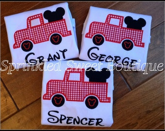 Custom Monogram Applique Mickey Inspired Truck Boys Shirt Perfect for Birthday or First Disney Trip
