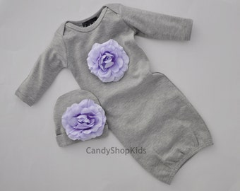 Take-Home-Outfit for Baby Girl - Grey With Lavender Flower Newborn Girls Layette