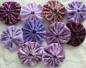 yo yos 30 1 1/2 inch assorted purple fabric