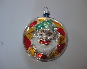 Vintage Inge Glas Clown Face in Drum Christmas Ornament Made in West Germany in Original Box Christmas Ornament Drum Ornament Clown