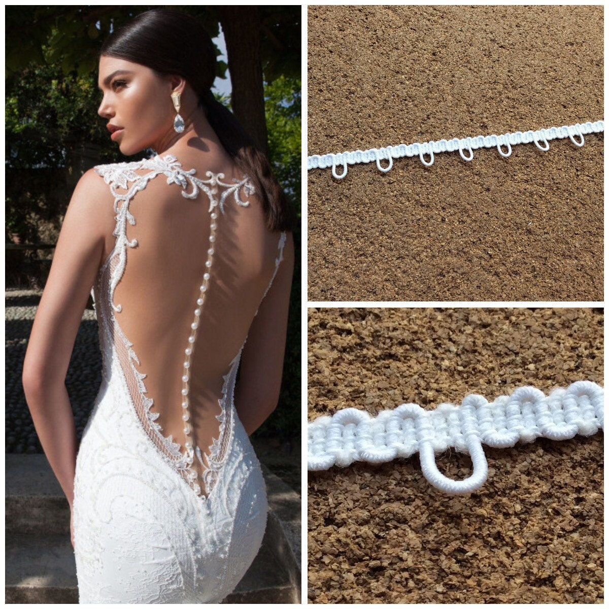 elastic loops for buttons on bridal dress