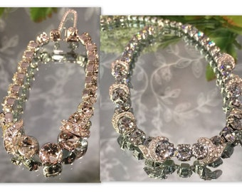 EISENBERG ICE Vintage Demi with Outstanding Sparkle, Large Clear Rhinestone Necklace and Bracelet - Signed - Mint Condition
