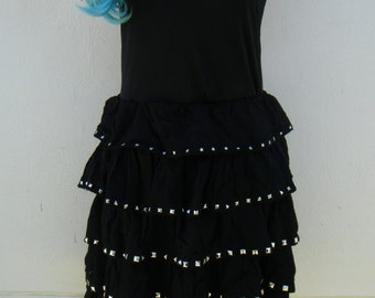 Black Four Tiered Dress with Pyramid Studs and Stars Size 12AU