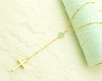 Gold Rosary Necklace  - Mint Rosary -  Long Gold Ball Chain Rosary - Gold Satellite Chain Rosary