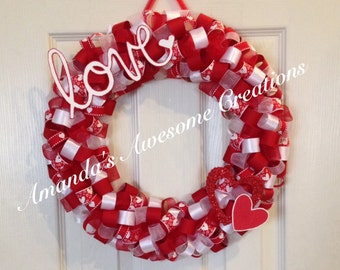 Love Valentines Ribbon Wreath