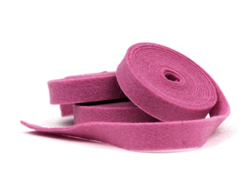 Wool Felt - 100 Percent Wool Felt Ribbon in color MULBERRY - 1/2 Inch X 2 Yards - Merino Wool Felt - Pink Ribbon - Mulberry Ribbon