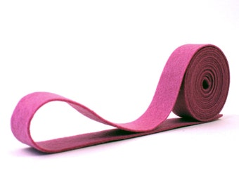 Wool Felt - 100 Percent Wool Felt Ribbon in color MULBERRY - 3/4 Inch X 2 Yards - Merino Wool Felt - Pink Ribbon - Mulberry Ribbon