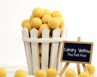 ORG-CY Felt Balls -  2.5 cm - 25 count - Canary Yellow