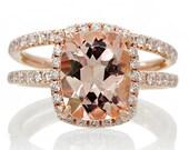 BRIDAL SET 18K Rose Gold 9x7 Cushion Cut Diamond Halo Morganite Engagement Ring Wedding Anniversary Ring
