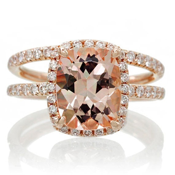 BRIDAL SET 18K Rose Gold 9x7 Cushion Cut Diamond Halo