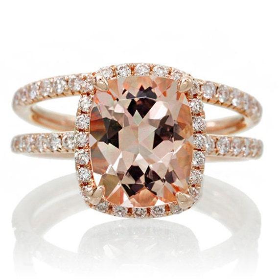 BRIDAL SET 18K Rose Gold 9x7 Cushion Cut Diamond Halo