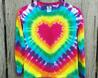 Girls Rainbow Heart Tie Dye Shirt,  Valentine's Day Shirt,  S M L XL,  Long Sleeve Tshirt,  Hippie Kids