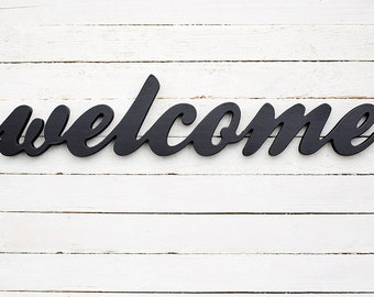 Wood welcome sign - front door sign - entryway sign - door sign - welcome signs - wooden sign - porch sign - housewarming gift - welcome