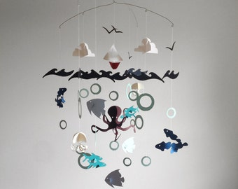 Sailboat on the Open Ocean, Sea - themed Paper Baby Mobile