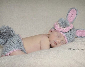 Bunny Costume, Bunny Outfit, Bunny Beanie, Bunny Set, Baby Shower Gift, Photo Prop, Halloween Costume