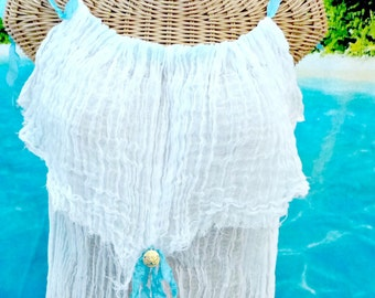 Sand Dollar Mini Dress or Tunic Womens White Cotton Spa Pool Cover Up Turquoise Ribbon