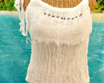 Pirate Girl Top Tank Beaded White Black Iridescent Artisan Cotton Gauze Spa Pool Cover Up Womens