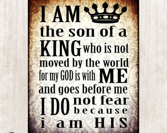Son of the King, Inspirational quote printable, Scripture printable, Home Decor, DIY, Office Printable, Instant Download