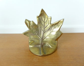 Brass maple leaf bookend