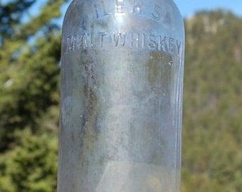 Scarce antique ILER'S Malt WHISKEY bottle Willow Springs OMAHA Nebraska  --  Over a Century Old!