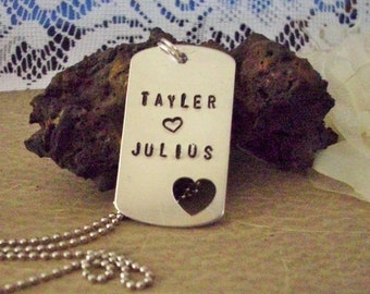 Hand Stamped Dog Tag, Personalized Heart Dog Tag, Valentines Day Gift, Mens Valentine Gift, Mens Jewelry, Mens Gifts, Husband Custom Gift
