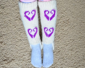 Hand knit baby, kids Warm Leg Warmers, Gaiters