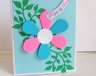 Hand made cards: Bright and Beautiful - Flower -handmade - blue - pink - petals - greeting card - hand stamped - Wcards