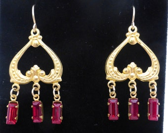 Vintage 1930's Brass Chandelier Earrings with Red Rectangular Crystal Drops