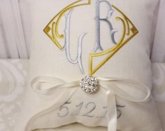 Ring Bearer Pillow, Monogram Ring Bearer Pillow, ring pillow, wedding pillow, personalized pillow, custom pillow