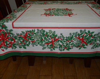 Vintage Christmas Rectangle  Holiday Tablecloth Holly Red Ribbons