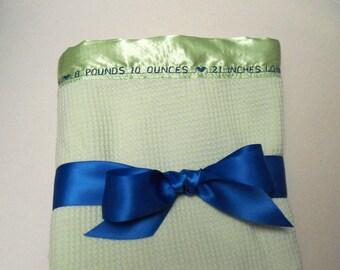 Baby Blanket, Birth Announcement Blanket, Thermal Baby Blanket, Personalized Baby Blanket, Keepsake Blanket, Receiving Blanket, Baby Gift