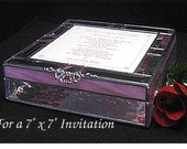 """Wedding Invitation Keepsake Box in stained glass ( for a 7"""" x 7 """"  Invitation)"""