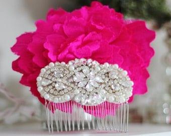 New! Rhinestone and Pearl Bridal Comb Head Piece