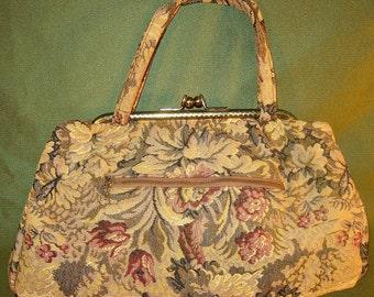 Vintage Tapestry Bag Large Size Cream, Sage and Plum Floral