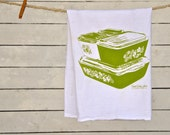 Tea Towel: Crazy Daisy, Spring Blossom, Vintage Pyrex Fridgies Design