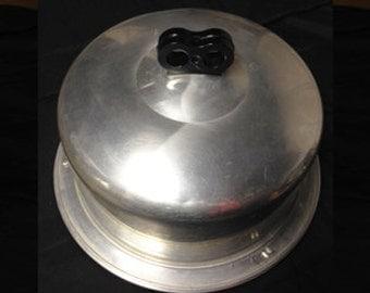 Vintage Regal Cake Carrier, Cake Plate,  Aluminum Bakelite Double Finger Handle