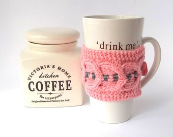SALE - 50%OFF. Pink Knit Coffee Cup Cozy. Knitted Mug Cozy. Hand Knit Tea Cup Cosy.