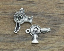 5/10/20 Hairdresser Blow Dryer Charms Antique Silver Tone - SC2556