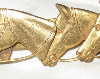 Figural Horse Brooch Natty Creations Equestrian Barrette or Brass Brooch Pin or Scarf Clip Equestrian Themed Horse Brooch