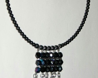 Crystal Goth Choker Unusual Black Iridescent Faceted Beaded Vintage Bead Choker Collar Necklace
