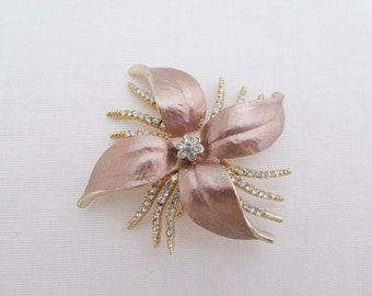 Vintage Rhinestone Flower Pin - 1980s Gold Tone Floral Spike Pin
