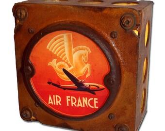 Rustic Air France Luggage Label Night Light (Orange)