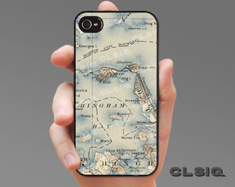 Vintage Hingham Harbor Map iPhone Case for iPhone 6, iPhone 5/5s, or iPhone 4/4s, Samsung Galaxy S6, Galaxy S5, Galaxy S4, Galaxy S3