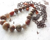 Fall boho necklace jasper necklace agate necklace fall colors necklace boho woodland copper necklace long necklace earth tones necklace