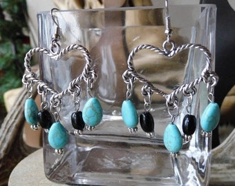Chunky western silve rheart and turquoise magnesite earrings #E51