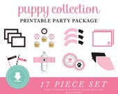 INSTANT DOWNLOAD Puppy Printable Party Package (Puppy Birthday, Puppy Party Instant Download, Pink Puppy Party Decorations, Black)