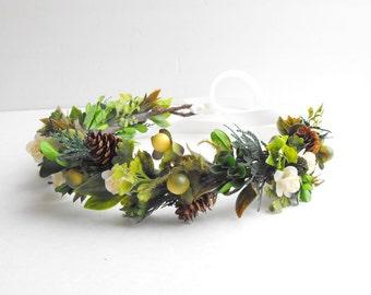 Leaf Crown, Flower Crown, Woodland Wedding, Bridal Flower Crown, Forest Wedding, Woodland Hairpiece, Bridal Head Wreath, Moss Wedding