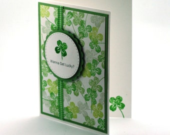 Lucky clover blank card, funny st. patricks day card, green 4 leaf clover note card, humorous luck of the Irish